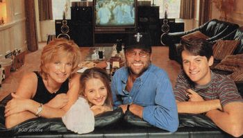 Maurice Gibb at home with family